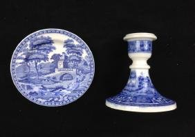 Spode Blue Tower: Candle Holder & Dish Dinner Plate