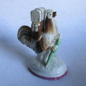Staffordshire Figurine Chicken, Rooster with Backpack