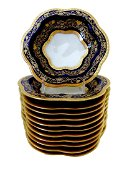 12 Porcelain Bowls In Cobalt Blue Encrusted In Gold