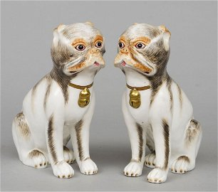 Pair Continental Porcelain Pug Dogs
