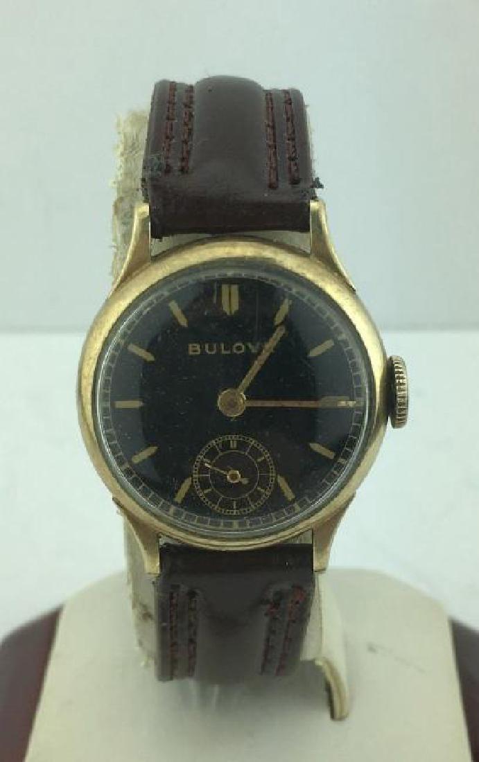 BULOVA | 10k Rolled Gold Plate Watch Black Dial