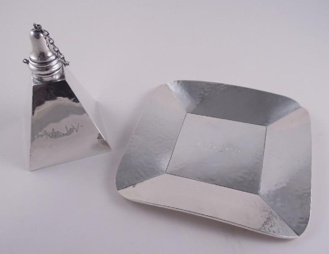 Henckel Sterling Pyramid Cigar Lamp & Tray Set - 2