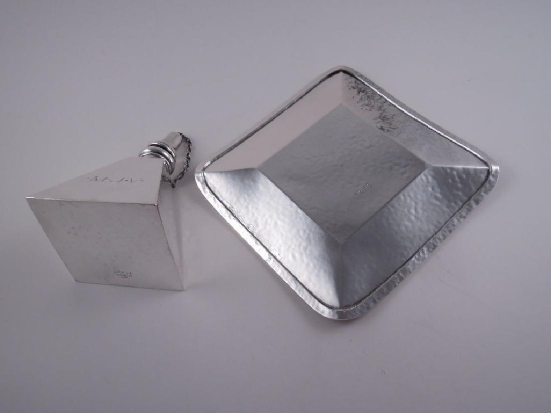 Henckel Sterling Pyramid Cigar Lamp & Tray Set - 6