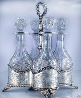 Lincoln Foss Coin Silver 4 Bottle Decanter Stand, 1850