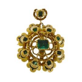 Renaissance Revival Gold Emerald Paste Pendant