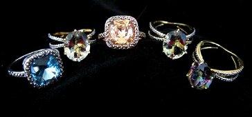 5 Retro Cushion Cut Rings, Various Gemstones
