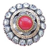 Victorian 12K Gold Diamond Red Coral Ring, 1900