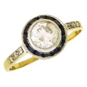 Antique Platinum Gold Diamond Sapphire Ring, 1918