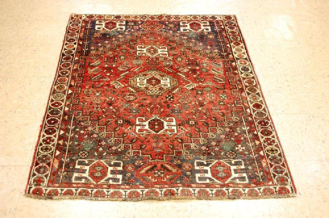 Antique Persian Shiraz Qashkai Wool Rug 3.10x4.10