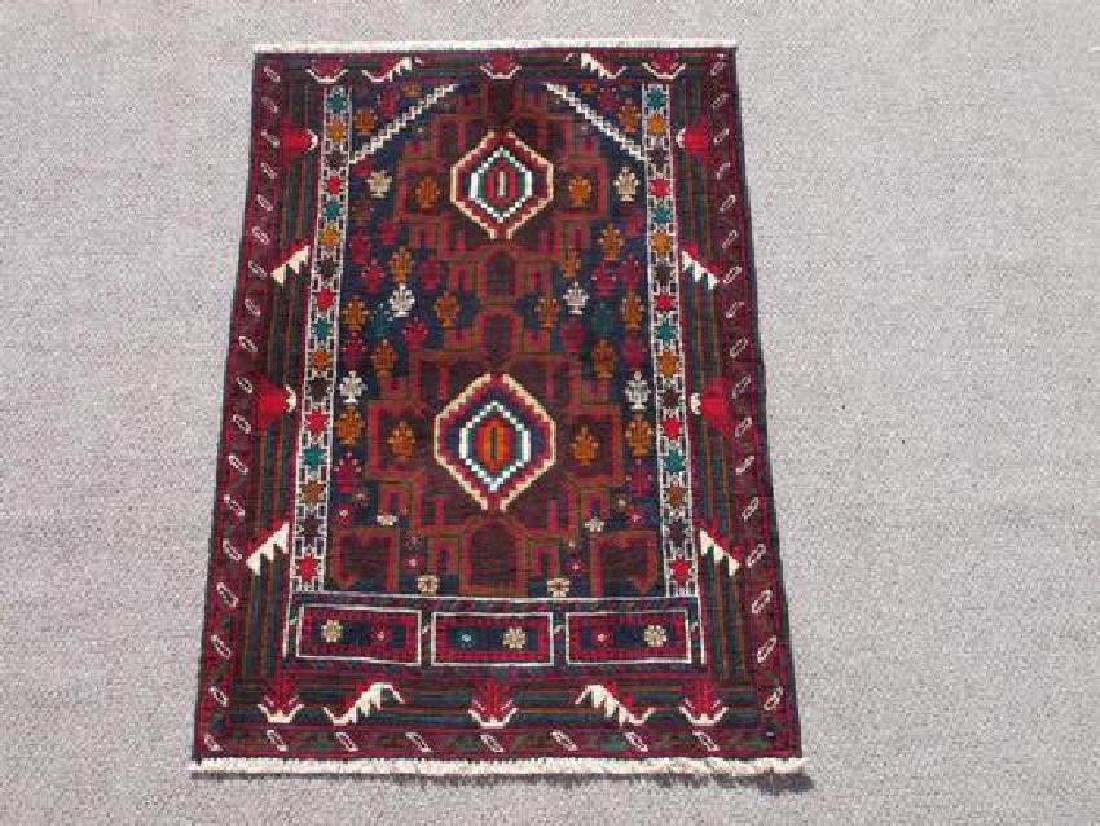 Wool On Wool Afghan Balooch Rug 3x5