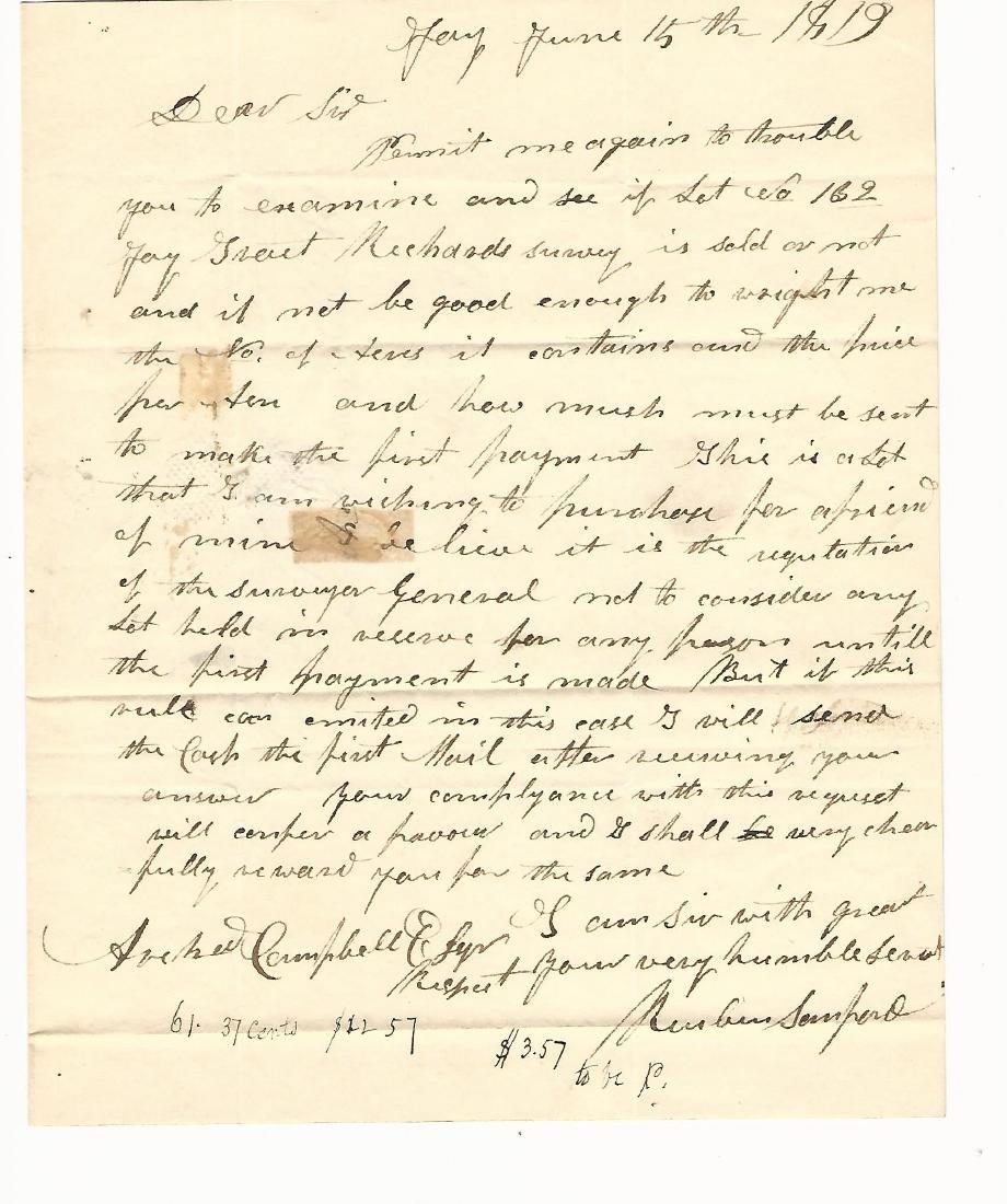 1819 Folded Letter Albany