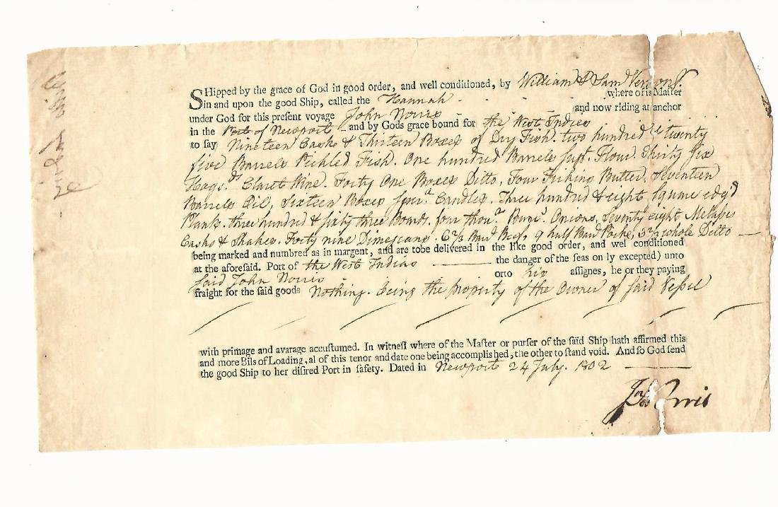1802 Newport Bill of Lading Shipping