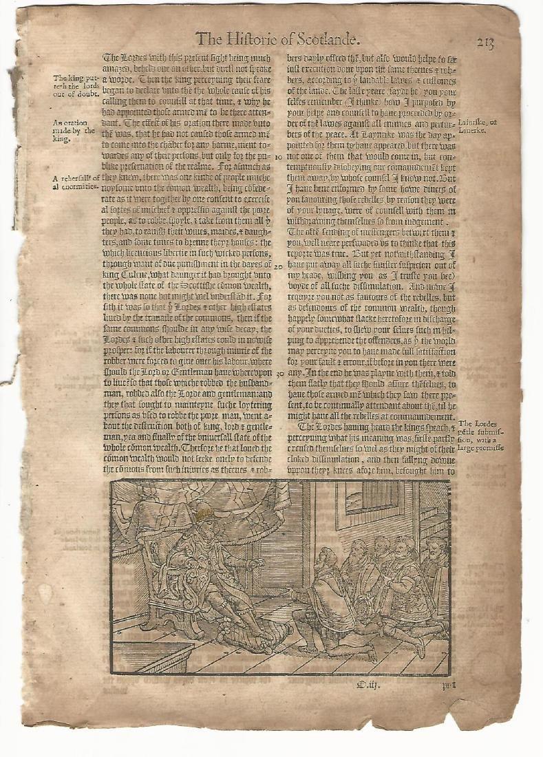 1577 Leaf Holinshed Historie of Scotland w/ Woodcut