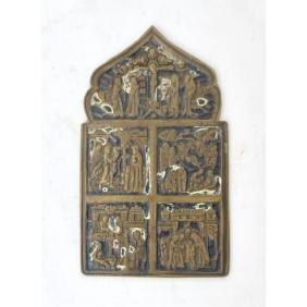 Brass Enamel Russian Traveling Icon, 18th C