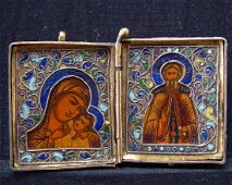 Russian Copper Enamel Traveling Diptych, 19th C
