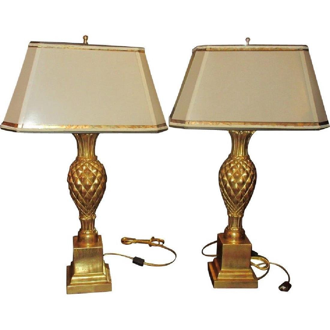Pair Thomas Morgan Table Lamps with Pineapple Bases