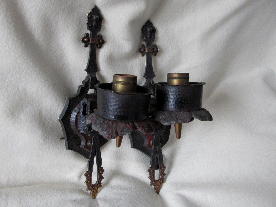 Pair Arts & Crafts Light Sconces, Hammered