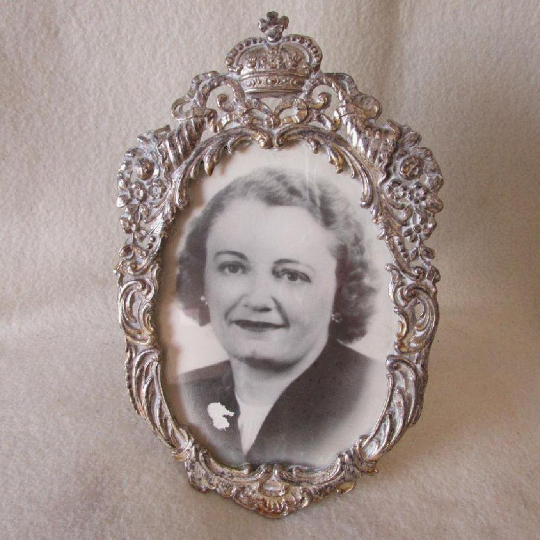 Vintage Cottage Chic Silverplate Picture Frame