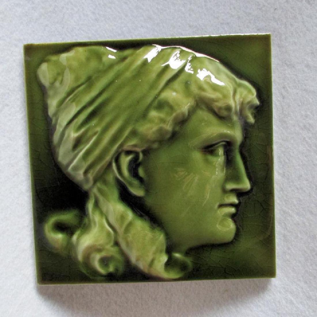 Antique c1881 Aesthetic Tile of Lady, JG & J Low