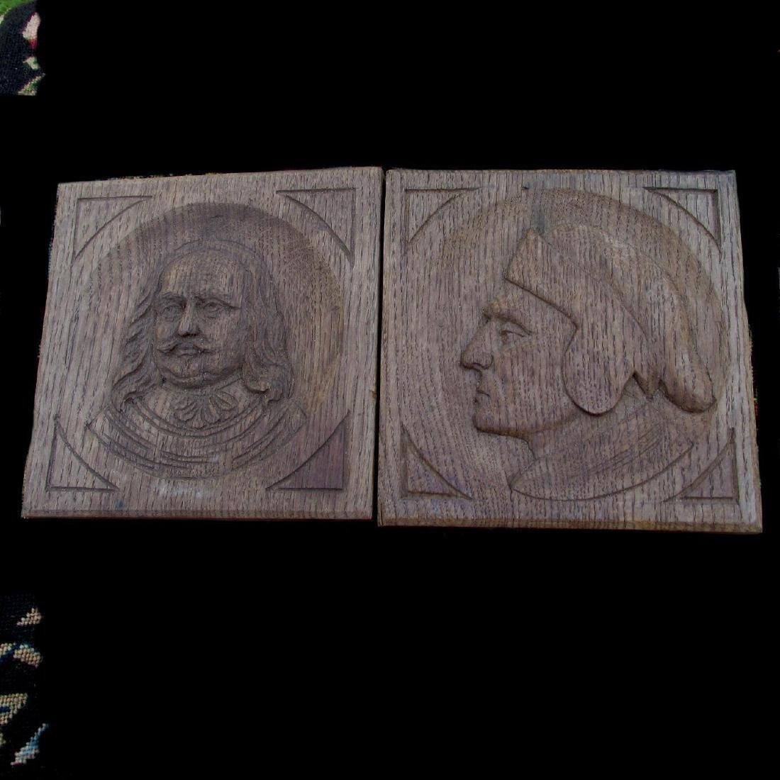 Pair English Hand Carved Oak Panels Dante & Shakespeare