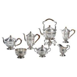 Crichton English Sterling Silver Tea & Coffee Set, 1930