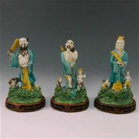 Chinese Antique Set of 3 Immortals Figure, Du Yunlong