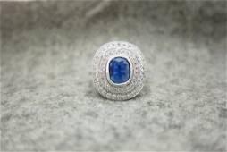 Kashmir Sapphire 1.13cts Art Deco Style Platinum Ring
