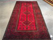 Authentic Hand Knotted Afghan Wool Rug 54x97
