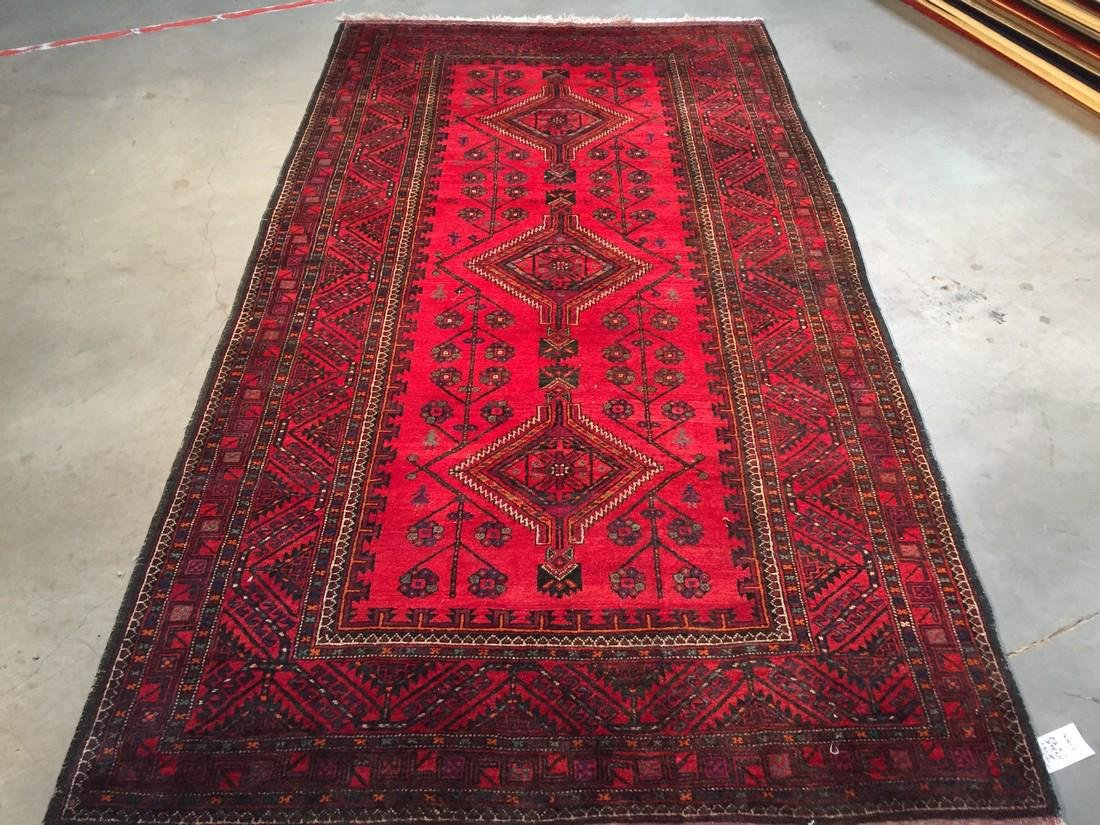 Authentic Hand Knotted Afghan Wool Rug 5.4x9.7