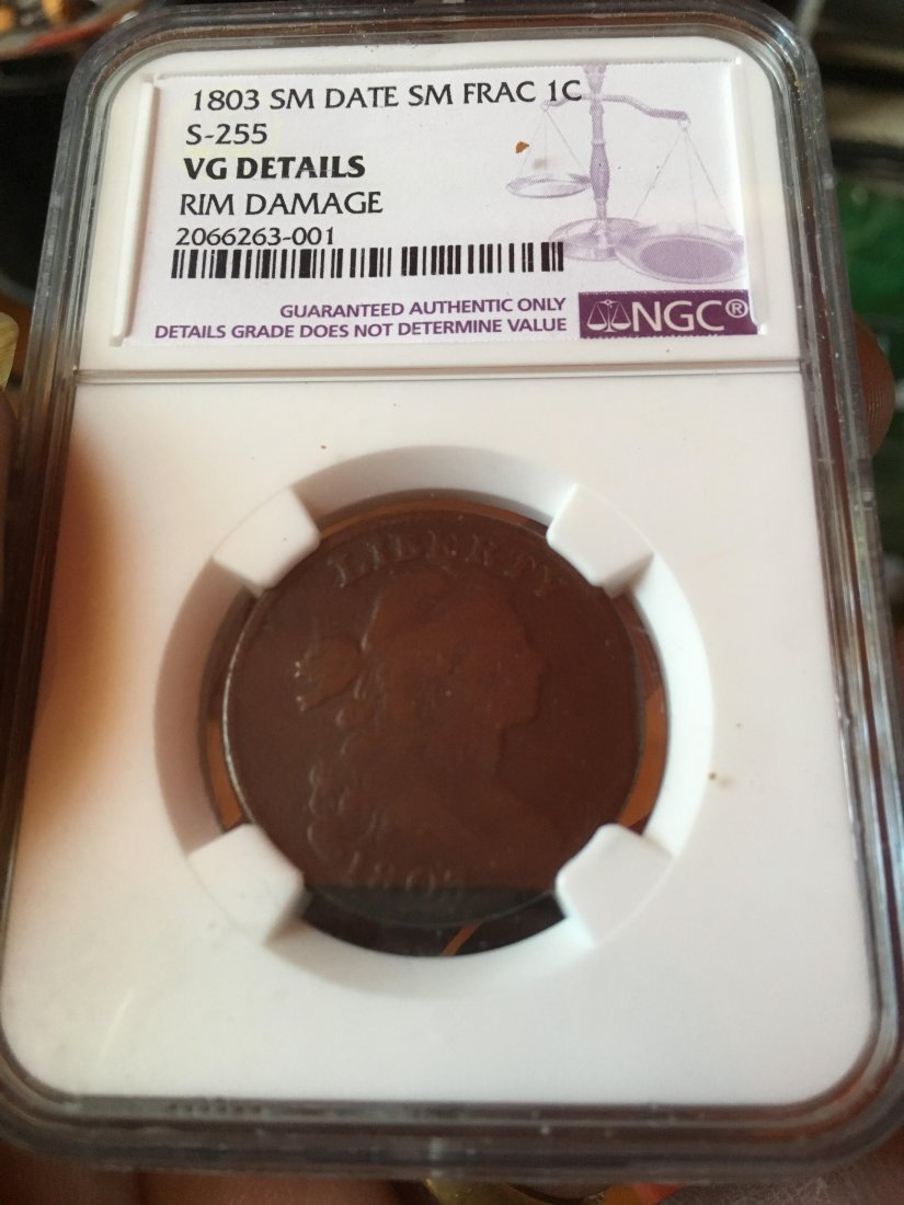 1803 Large Cent S-255 VG NGC Graded