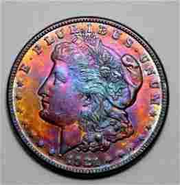 1921 S Rainbow Morgan Silver Dollar Coin