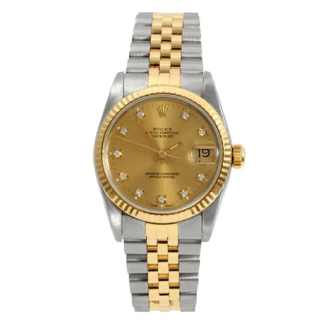 ROLEX   Datejust 18k Gold Steel Champagne   1980s