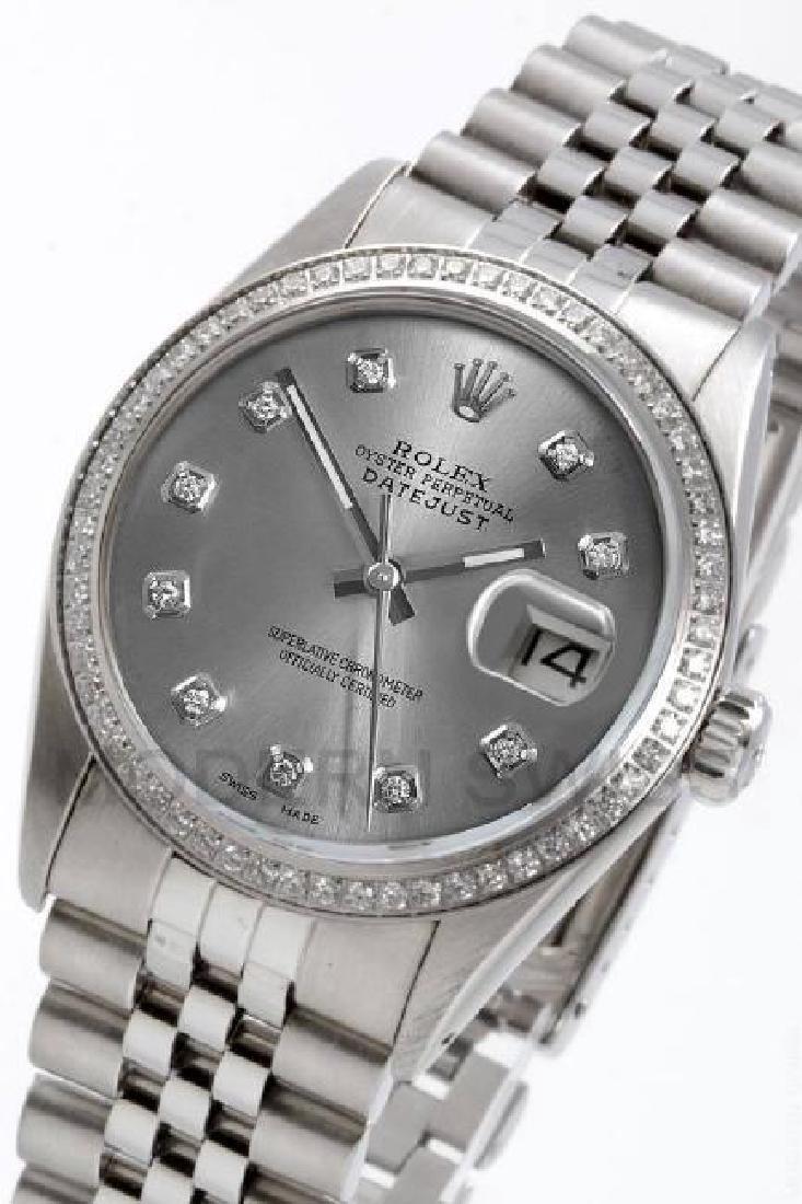 ROLEX   Datejust Steel Slate Diamond Dial & Bezel  