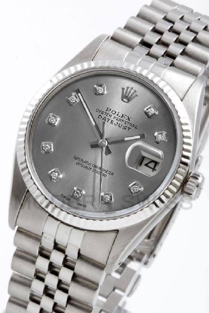 ROLEX    Datejust Steel Slate Diamond Gold Fluted  