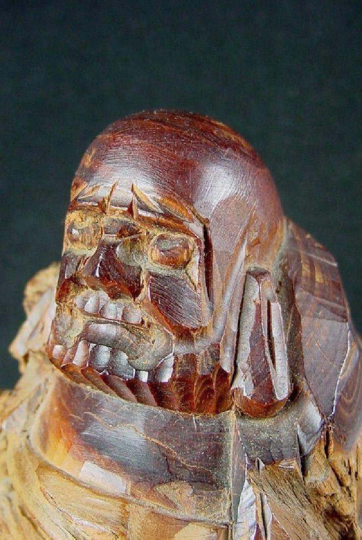 Daruma Carved From A Natural Burl Wood - 10