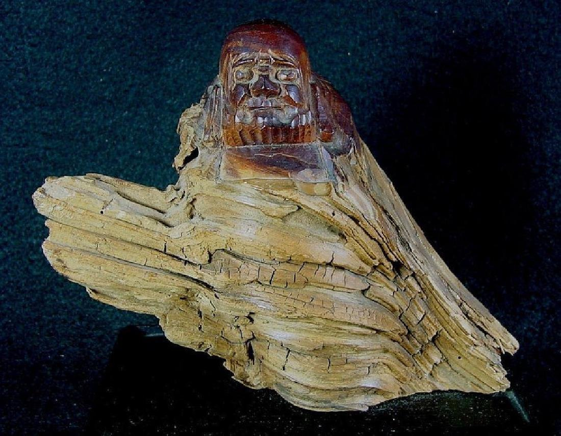 Daruma Carved From A Natural Burl Wood - 2