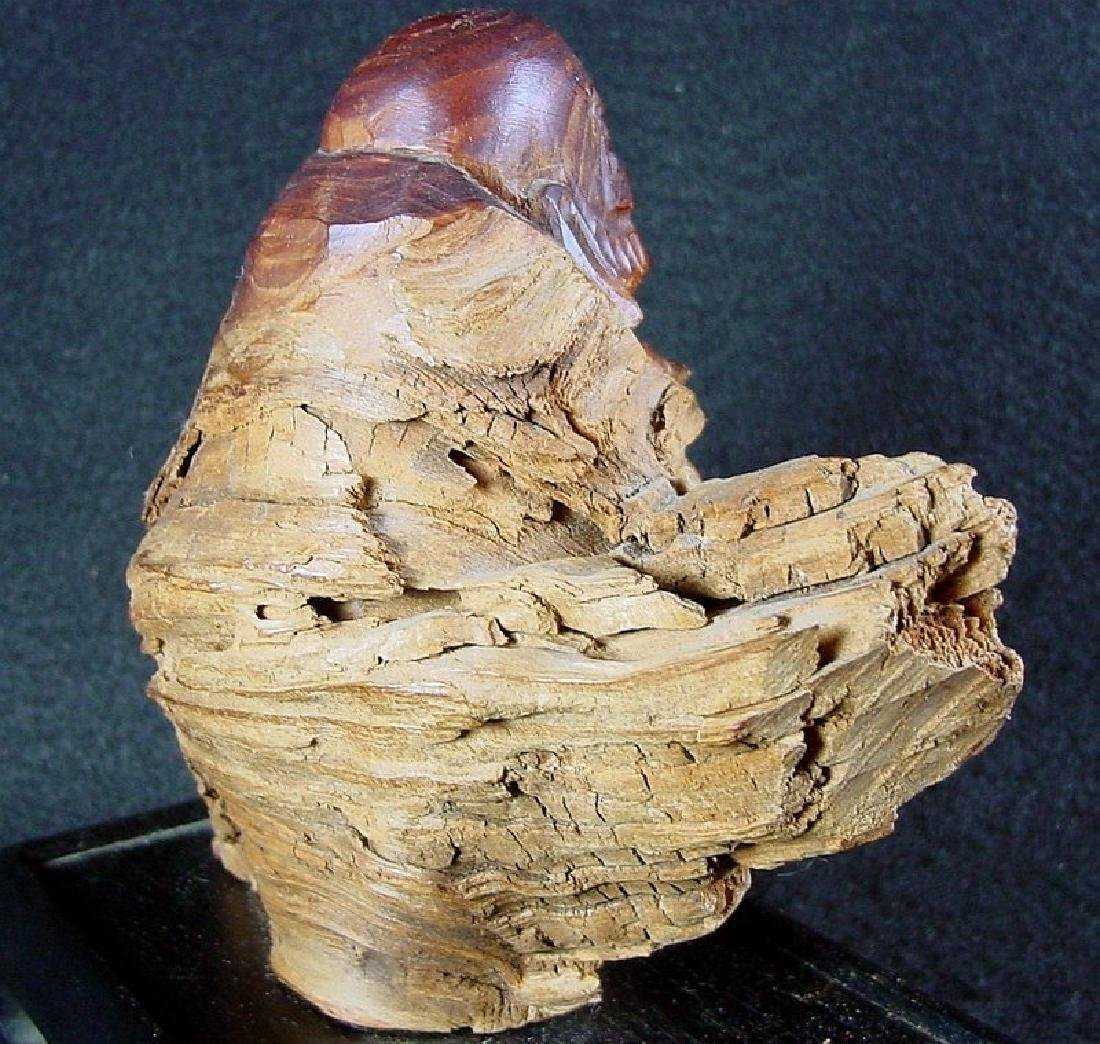 Daruma Carved From A Natural Burl Wood - 6
