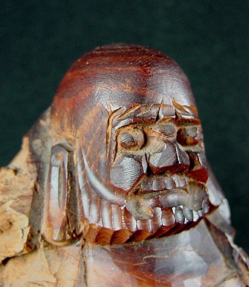Daruma Carved From A Natural Burl Wood - 9