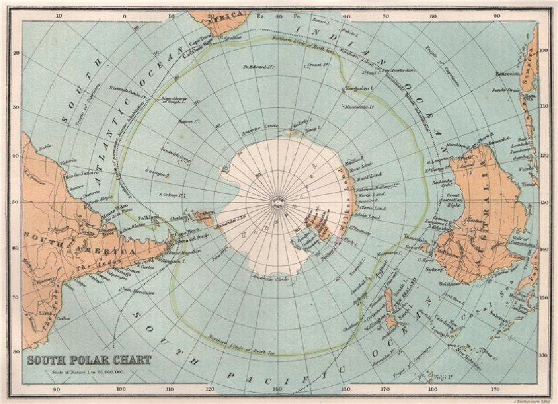 Antarctic  South Pole  Drift Ice Limit 1886 Map