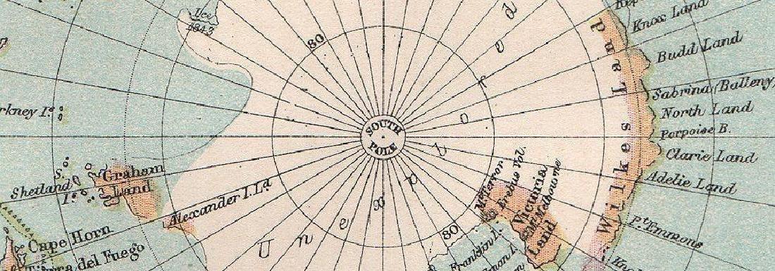 Antarctic  South Pole  Drift Ice Limit 1886 Map - 2