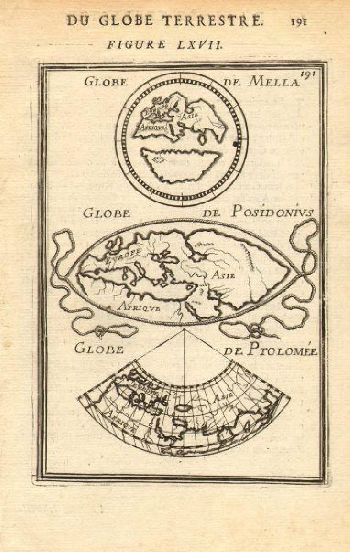 Ancient World Maps, Mela Posidonius & Ptolemy 1683 Map
