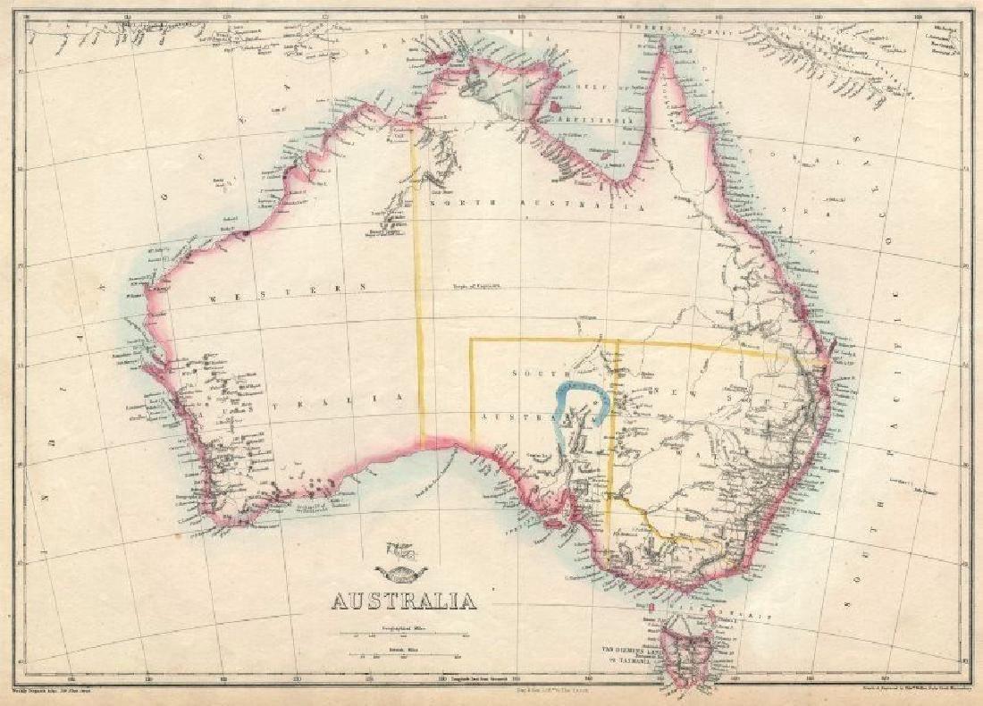 Australia Showing 1856 States 1863 Map