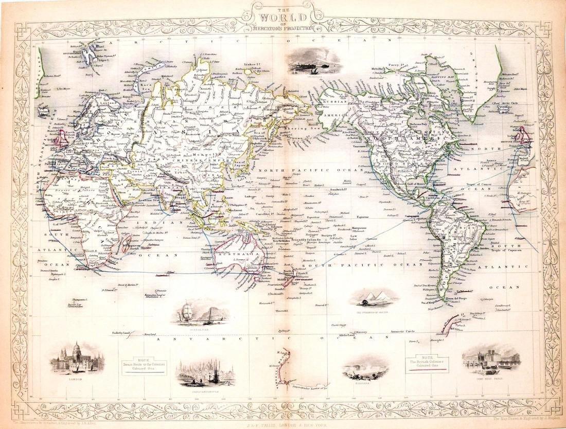 Tallis World Map World on Mercator's Projection 1851