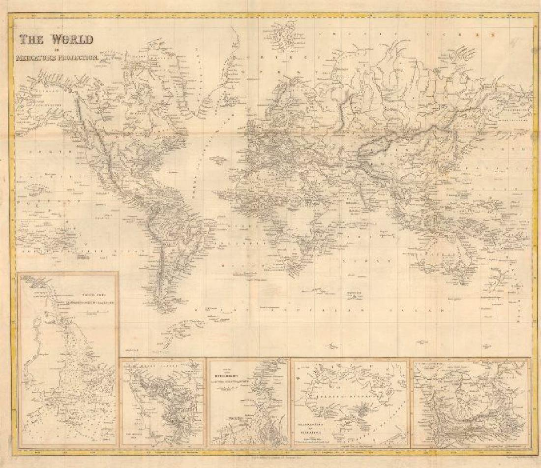 World on Mercator's Projection 1841 Map