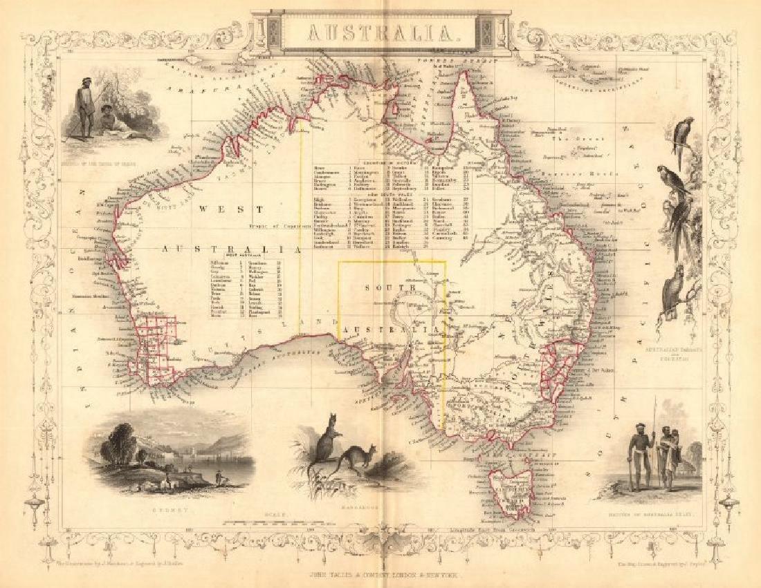 Australia Sydney View Pre-Queensland 1849 Map