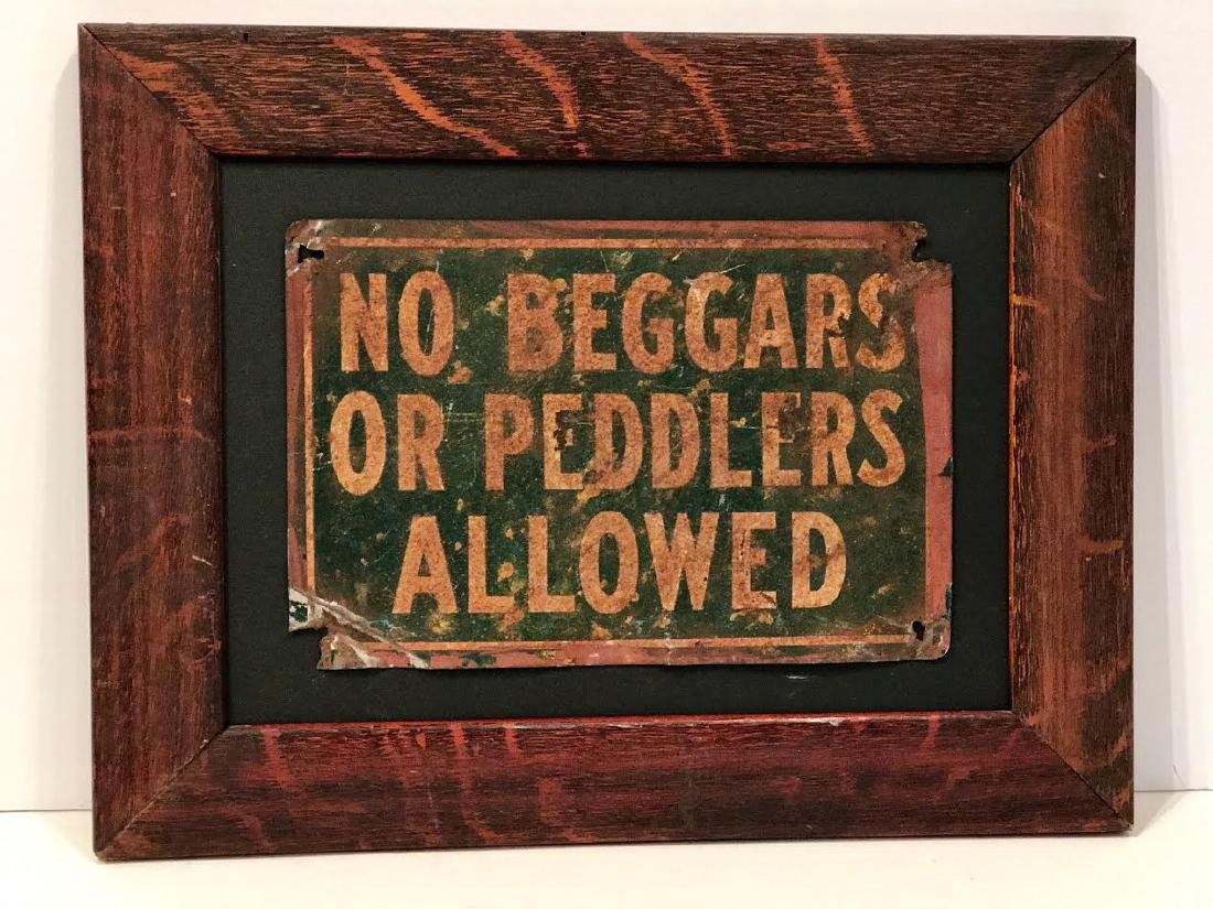 No Beggars or Peddlers Allowed Sign