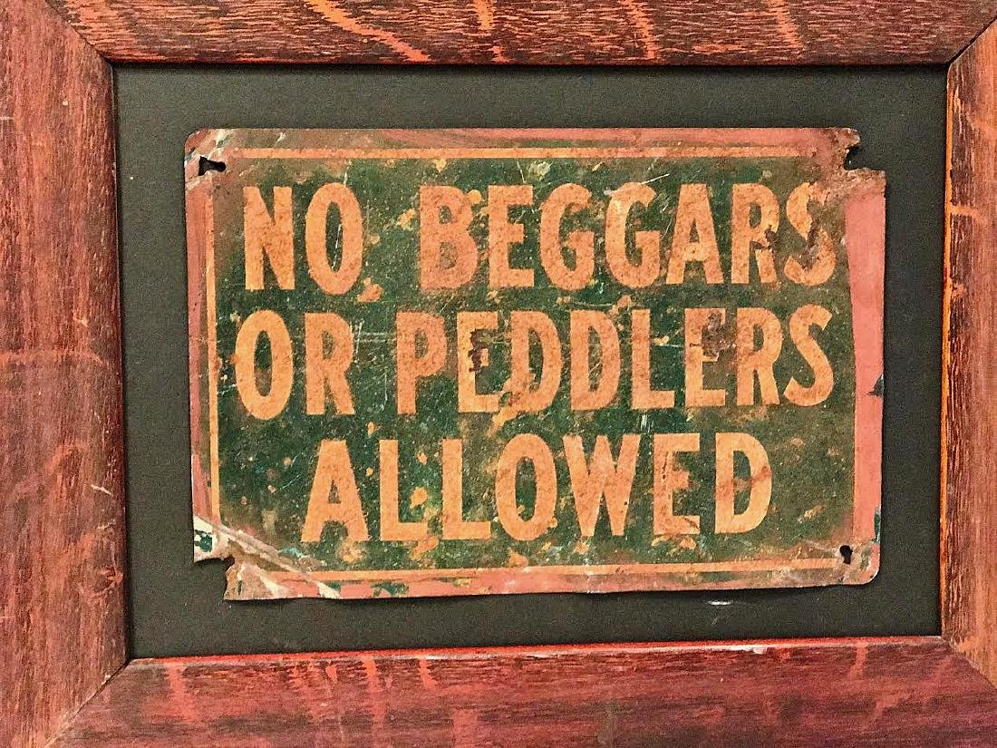No Beggars or Peddlers Allowed Sign - 2