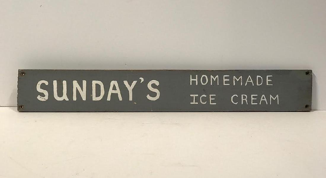 Sunday's Homemade Ice Cream Trade Sign