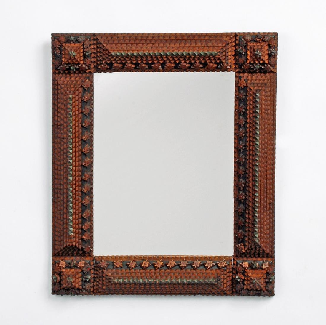 Tramp Art Mirror with Painted Highlights