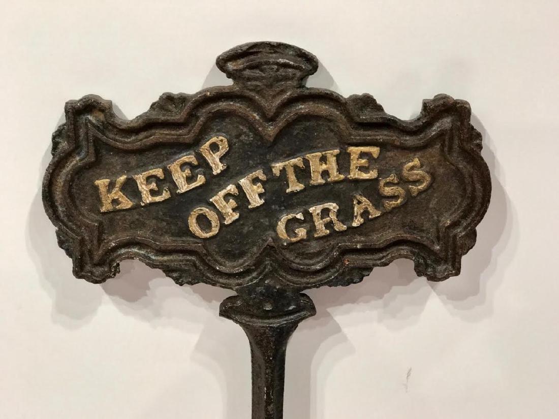 Cast Iron Keep Off The Grass Sign - 3